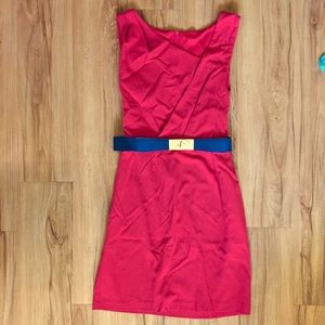 Red Pencil Dress with Belt